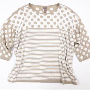 Chicos Polka Dot Sweater Size 16 (3) White Tan